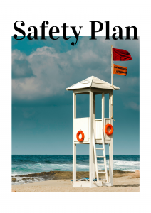 Cover for the Safety Plan which pictures a lifeguard station