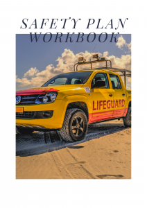 Cover for the Safety Plan Workbook that pictures a lifeguard off-road vehicle