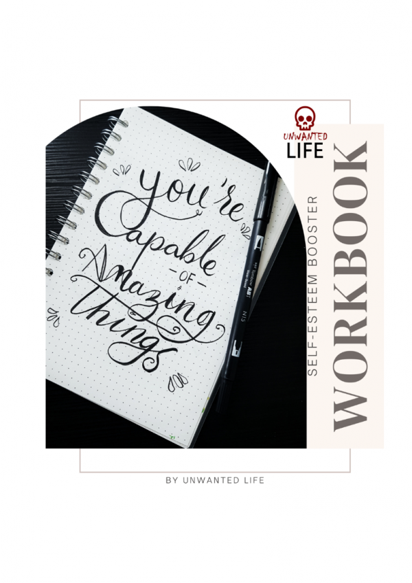 """Cover for the Self-Esteem Booster Workbook depicting a notepad with the words """"you're capable of amazing things"""" wrote on it"""