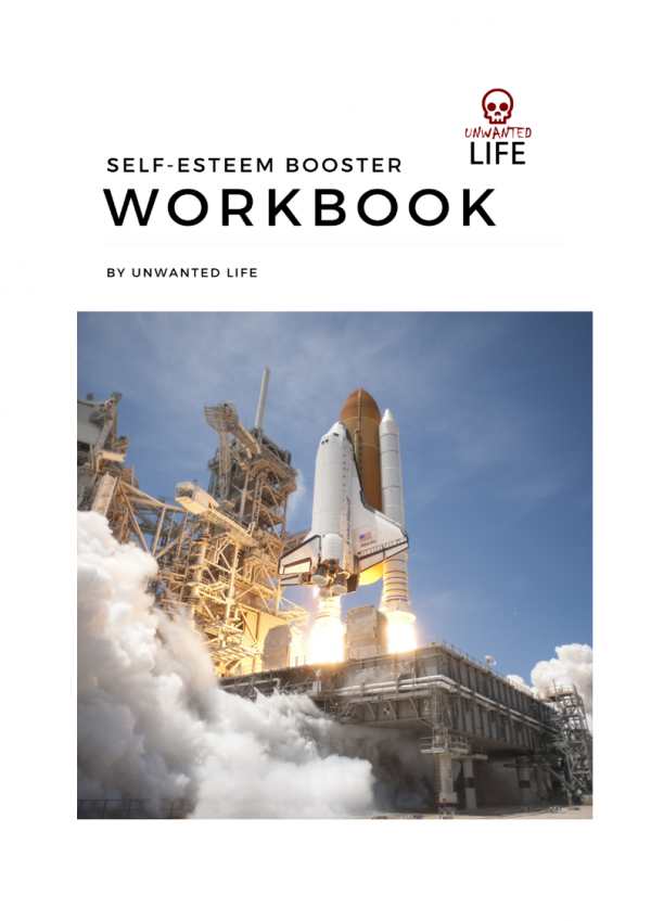 Cover for the Self-Esteem Booster Workbook depicting a NASA space rocket launch