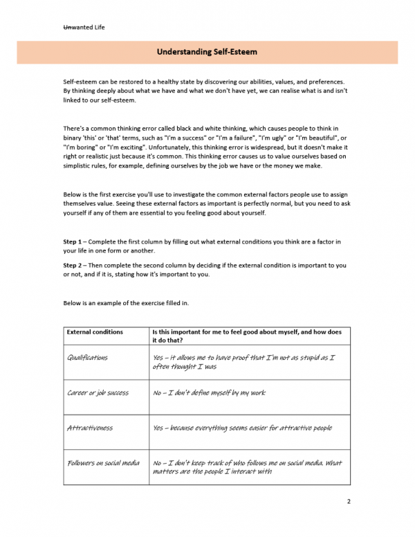 An image of the third page of self esteem workbook